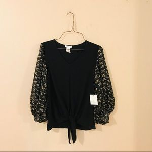 NWT Black Floral Sleeve Tie Front Blouse